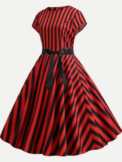 50s Vintage Striped A-line Dress