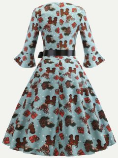 60s Christmas Elk Print A-line Dress
