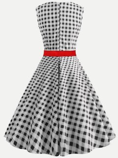 60s Retro Mesh Plaid Dress