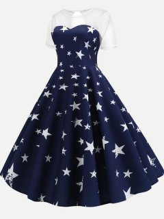 50s Navy Mesh Star Print Swing Dress