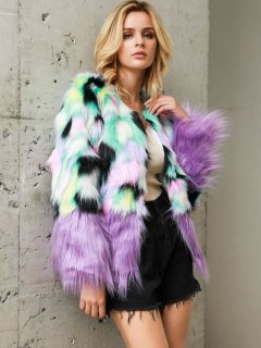 Multicolor Thick Faux Fur Jacket