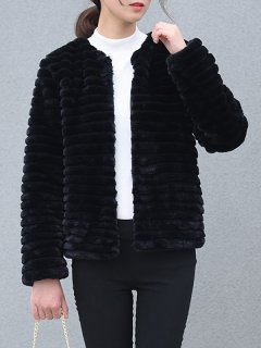 Solid Fashion Faux Fur Jacket