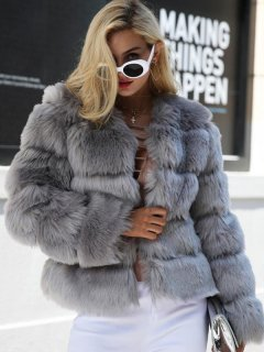 Solid Thick Grey Faux Fur Coat