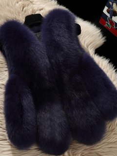 Solid Plus Size Faux Fur Vest Coat