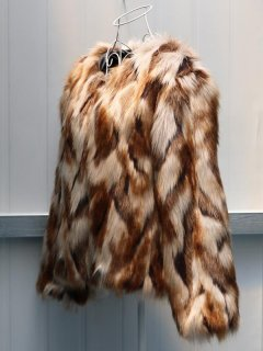 Multicolor Plus Size Faux Fur Coat