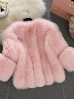 Plus Size Solid Faux Fur Jacket