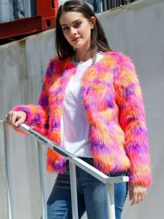 Open Front Thick Faux Fur Coat
