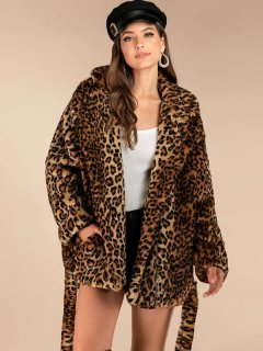 Thick Leopard Faux Fur Coat