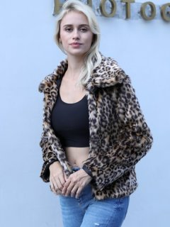 Leopard Short Faux Fur Coat