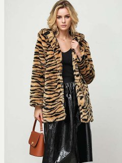 Tiger Faux Fur Hooded Coat