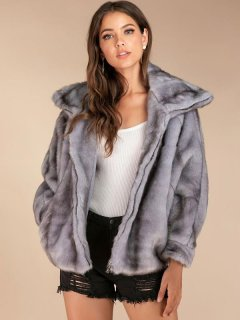 Grey Batwing Sleeve Faux Mink Fur Coat