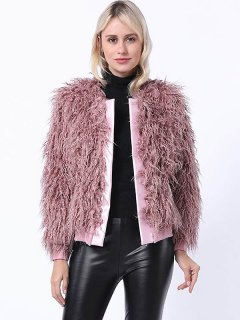 Solid Plus Size Faux Fur Coat