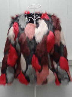 Plus Size Color Block Faux Fur Coat