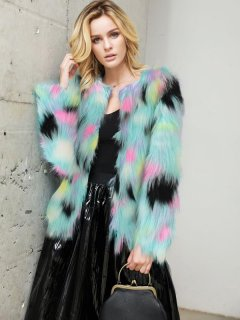 Multicolor Winter Faux Fur Coat