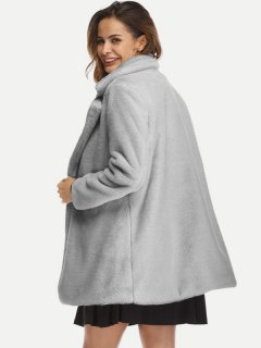 Open Front Plus Size Faux Fur Coat