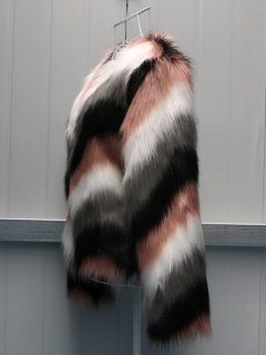 Plus Size Multicolor Faux Fur Coat