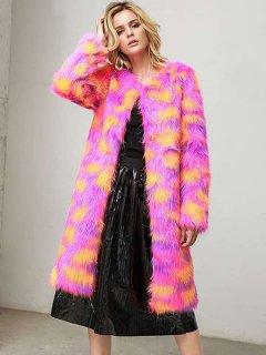 Color Block Long Faux Fur Coat