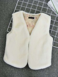 Solid Faux Rabbit Fur Vest