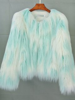 Color Block Tie Dye Faux Fur Coat