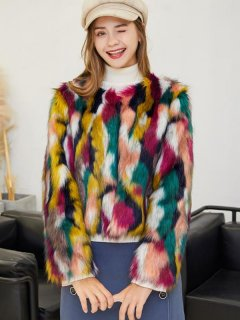 Multicolor Faux Fox Fur Coat