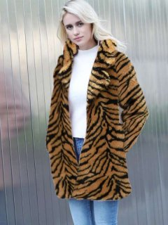 Tiger Print Long Faux Fur Coat