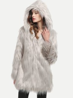 Solid Long Faux Fur Hooded Coat