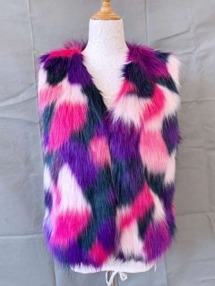Multicolor Faux Fox Fur Vest