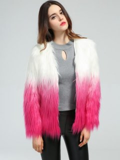 V Neck Color Block Faux Fur Coat