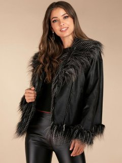 Zipper Up Faux Fur Leather Jacket