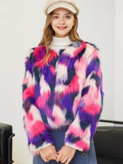 Multicolor Short Faux Fur Coat