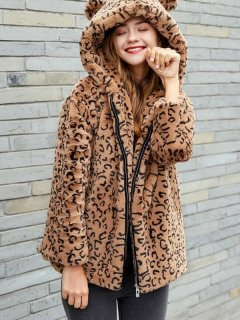 Leopard Zipper Up Faux Fur Hooded Coat