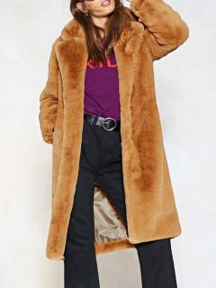 Brown Thick Long Faux Fur Coat