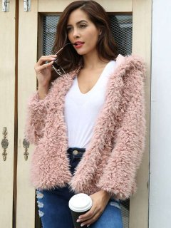 Open Front Hooded Faux Fur Coat
