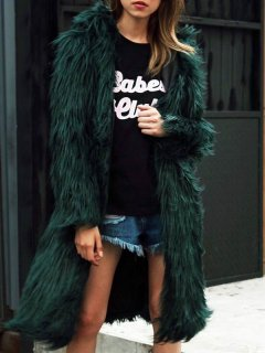 Solid Hooded Long Faux Fur Coat