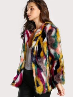Multicolor Thick Faux Fur Coat