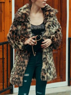 Leopard Print Long Faux Fur Coat