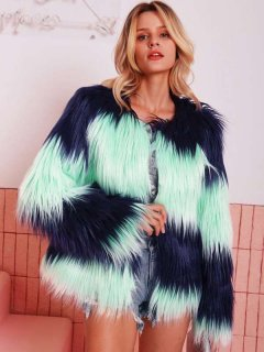 Open Front Color Block Faux Fur Coat