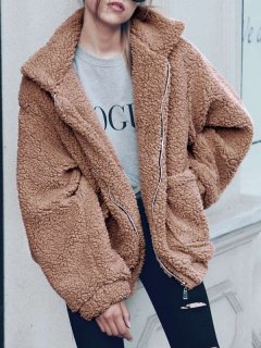 Solid Zipper Up Faux Fur Teddy Coat