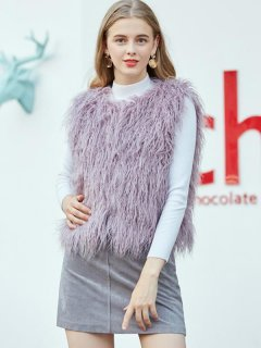 Solid Warm Faux Fur Vest