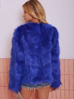 Solid Short Faux Fur Coat