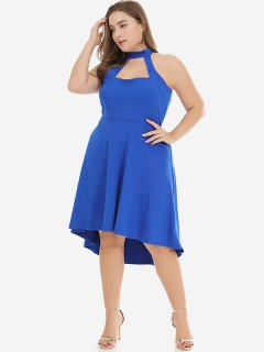 Plus Size Cut Out High Low Dress