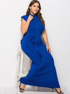Plus Size High Neck Ruffle Bodycon Dress
