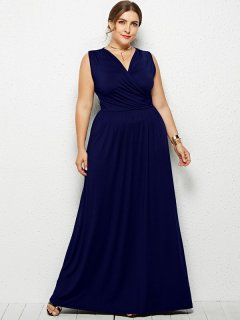 Plus Size Sexy Solid Sleeveless Maxi Dress