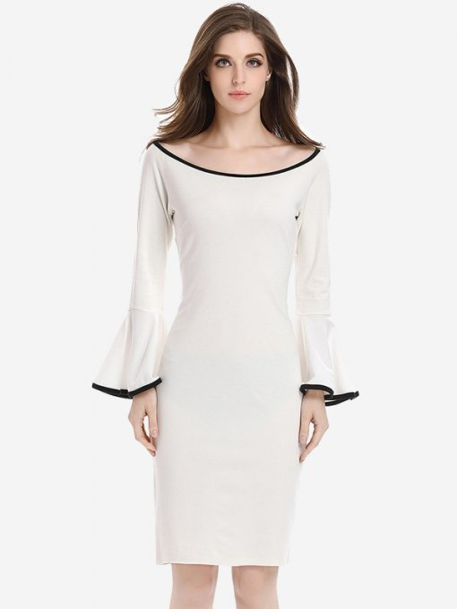 Womens Business Dress Work Office Pencil Boat Neck Flare Long Sleeve Knee Length Midi Dress