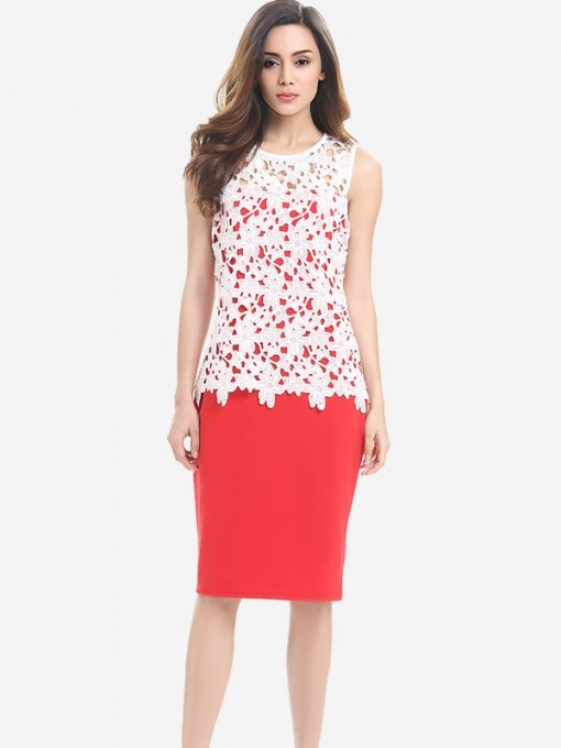 Womens Business Dress Work Office Pencil Lace Hollow Sleeveless Knee Length Midi Dress