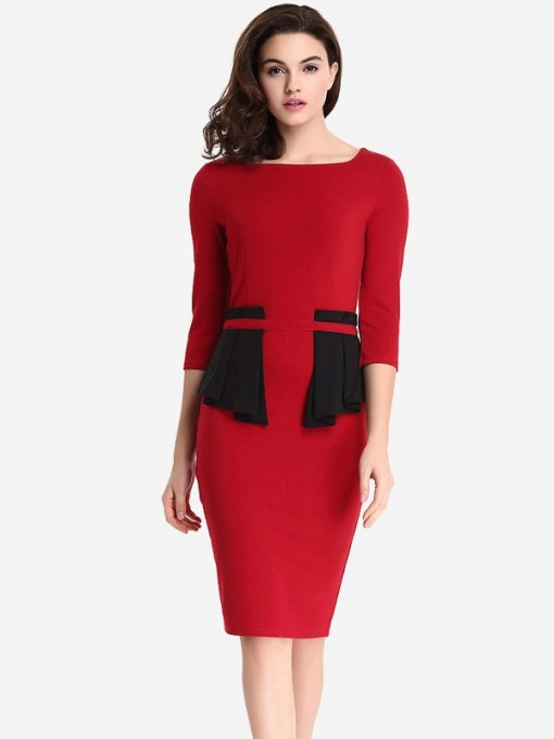 Red Long Sleeve Work Pencil Dress