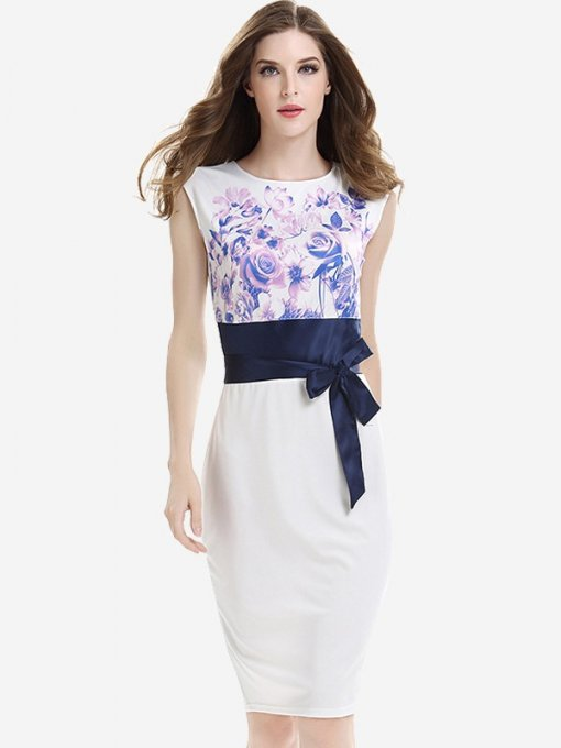 Womens Business Dress White Work Office Pencil Floral Print Sleeveless Lacing Knee Length Midi Dress