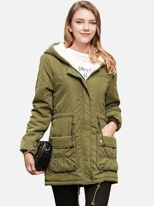 Solid Color Drawstring Pockets Hooded Cotton Berber Fleece Padded Coat