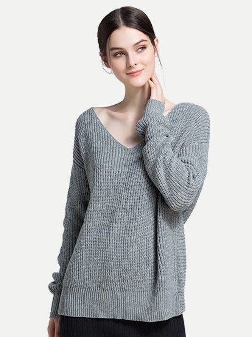 Solid Twist Backless Knit Sweater