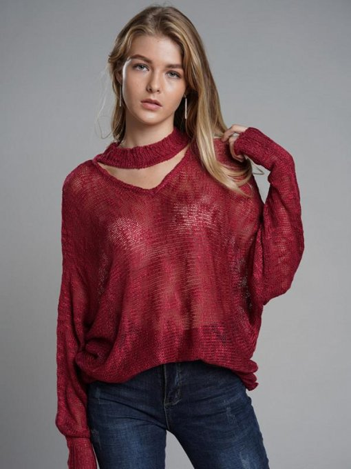 Solid V Neck Batwing Sleeve Sweater